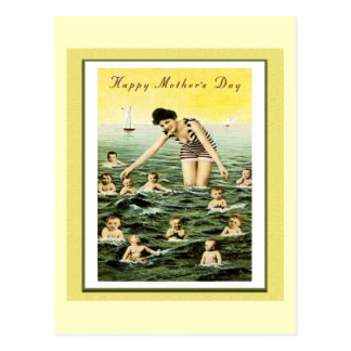 Vintage Mother's Day Baby Swimmers Postcard