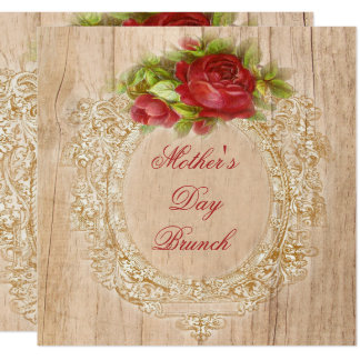 Vintage Mother's Day Brunch Red Rose Wooden Frame Card