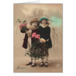 Vintage mother's day cute daughters  roses love greeting cards