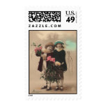 Vintage mother's day cute daughters roses love stamp