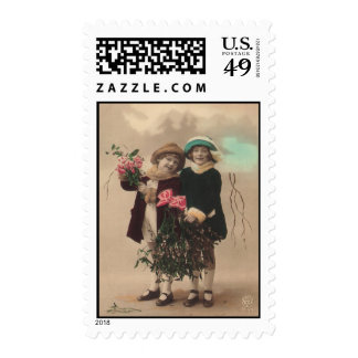 Vintage mother's day cute daughters roses love postage stamp