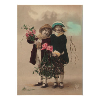Vintage mother's day cute daughters roses love poster
