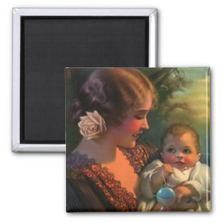 Vintage Mother's Day Family Portrait with Baby 2 Inch Square Magnet