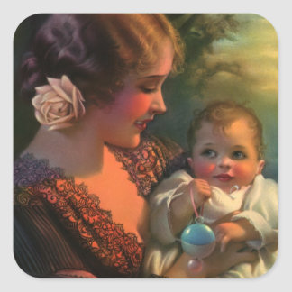 Vintage Mother's Day Family Portrait with Baby Square Sticker