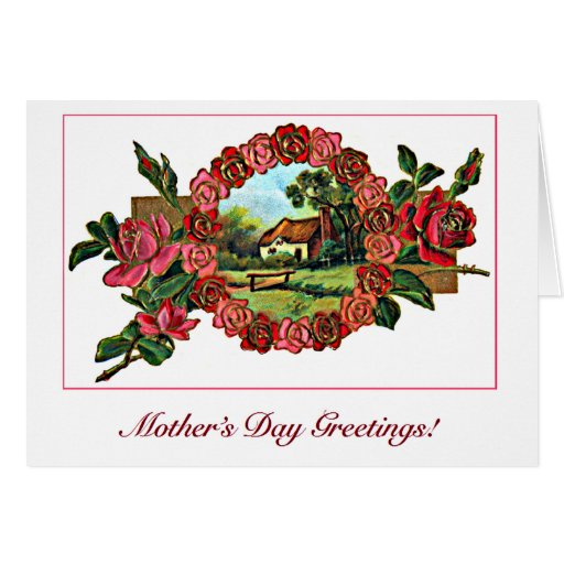 Vintage Mother's Day Greeting with Roses and Home Card