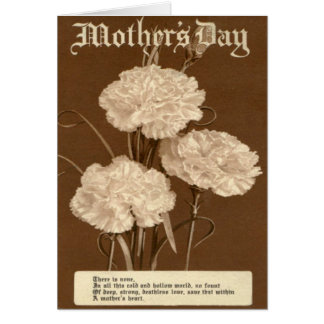 Vintage Mother's Day Poem Peony White Flower Card
