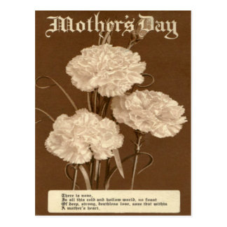 Vintage Mother's Day Poem Peony White Flower Postcard