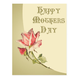 Vintage Mother's Day with Pink Rose Postcard