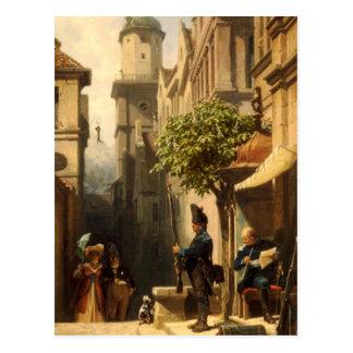 Vintage Motive - He's coming - Spitzweg Postcard