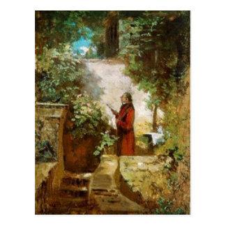 Vintage-Motive  The Newspaper Reader in the Garden Postcard
