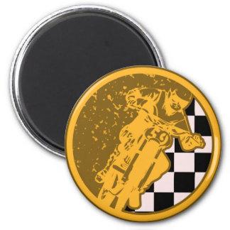 Vintage Motocross Racing Checkered Flag Magnet