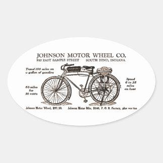 Vintage Motor Bike Ad Oval Sticker