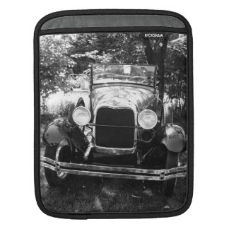 Vintage Motor Car in Black and White Sleeve For iPads
