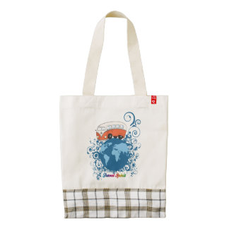 Vintage motor coach travelling around the world zazzle HEART tote bag