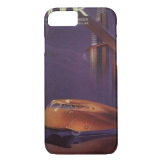 Vintage Motor Magazine Cover, Futuristic Car City iPhone 7 Case
