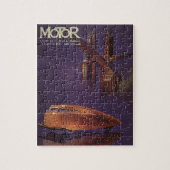 Vintage Motor Magazine Cover, Futuristic Car City Jigsaw Puzzle