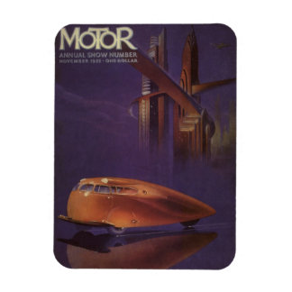 Vintage Motor Magazine Cover, Futuristic Car City Magnet