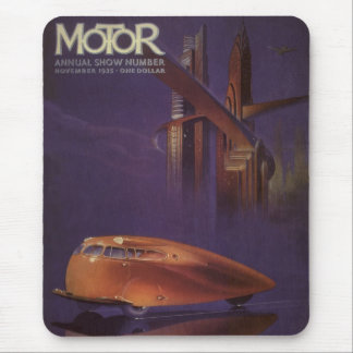 Vintage Motor Magazine Cover, Futuristic Car City Mouse Pad