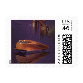 Vintage Motor Magazine Cover, Futuristic Car City Postage Stamps