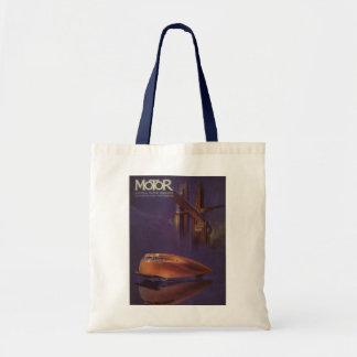 Vintage Motor Magazine Cover, Futuristic Car City Tote Bag