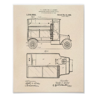 Vintage Motor Vehicle 1920 Patent Art - Old Peper Poster