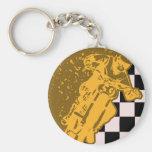 Vintage Motorcross Checkered Flag Keychain