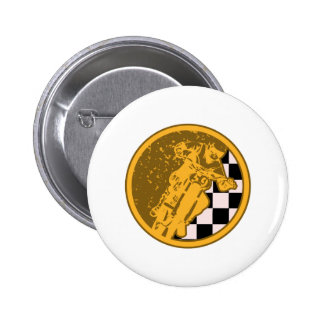 Vintage Motorcross Racing Checkered Flag Buttons