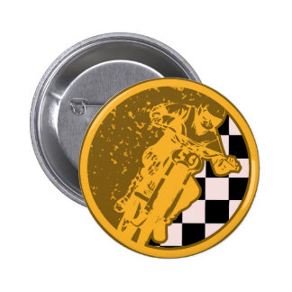 Vintage Motorcross Racing Checkered Flag Button Pins