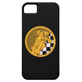 Vintage Motorcross Racing Checkered Flag iPhone SE/5/5s Case