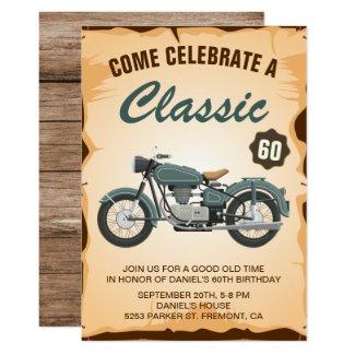 Vintage Motorcycle Adult Birthday Party Invitation