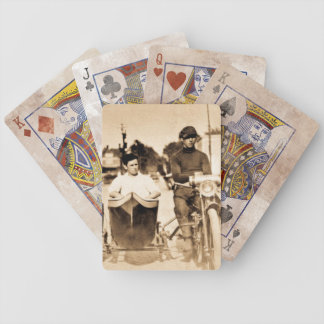 Vintage Motorcycle and Side Car Old School Cool Bicycle Playing Cards