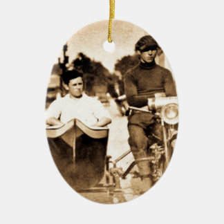 Vintage Motorcycle and Side Car Old School Cool Ceramic Ornament