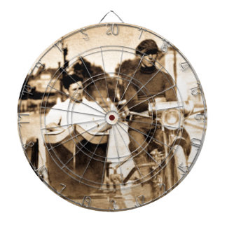 Vintage Motorcycle and Side Car Old School Cool Dartboard With Darts