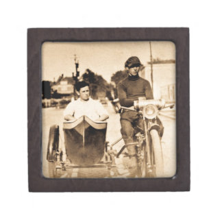 Vintage Motorcycle and Side Car Old School Cool Jewelry Box