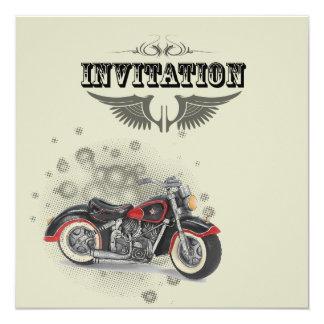 "Vintage Motorcycle Biker Wedding Invitation 5.25"" Square Invitation Card"