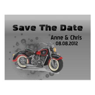 Vintage Motorcycle Biker WeddingFavor Postcard