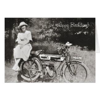 Vintage motorcycle birthday card v2