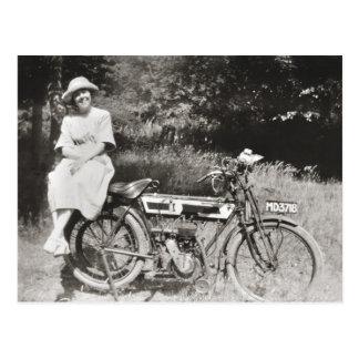 Vintage motorcycle c1920s sepia postcard
