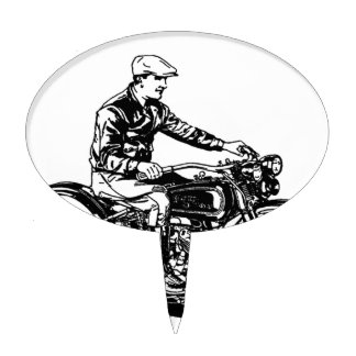 Vintage Motorcycle Cake Toppers