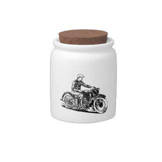 Vintage Motorcycle Candy Jar