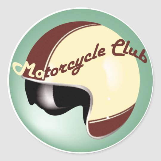 vintage motorcycle club classic round sticker