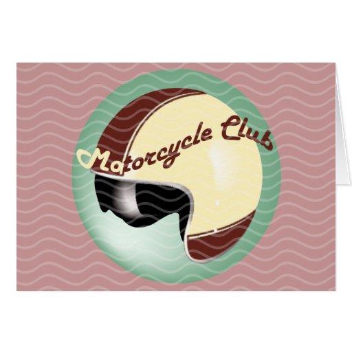 vintage motorcycle club greeting card