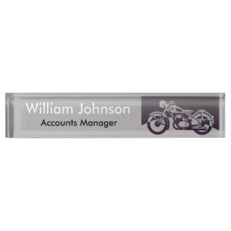 Vintage Motorcycle Desk Name Plate