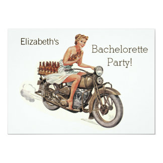 Vintage Motorcycle Girl and Beer Bachelorette Card