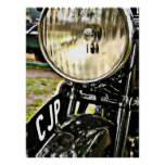 Vintage motorcycle headlight and license plate print