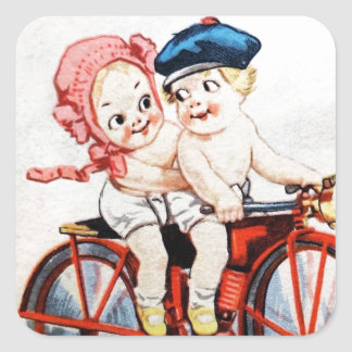 Vintage Motorcycle Kids Square Sticker