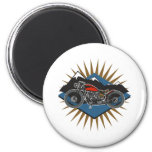 Vintage Motorcycle Mountain Scene 2 Inch Round Magnet