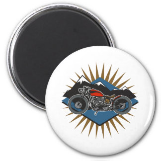 Vintage Motorcycle Mountain Scene Magnet