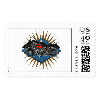Vintage Motorcycle Mountain Scene Stamps
