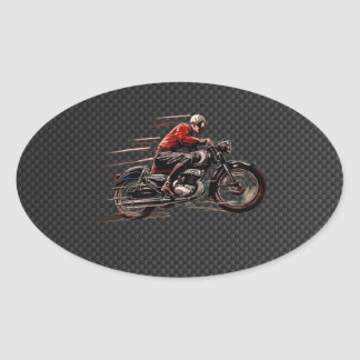 VINTAGE MOTORCYCLE ON CARBON FIBER. OVAL STICKER